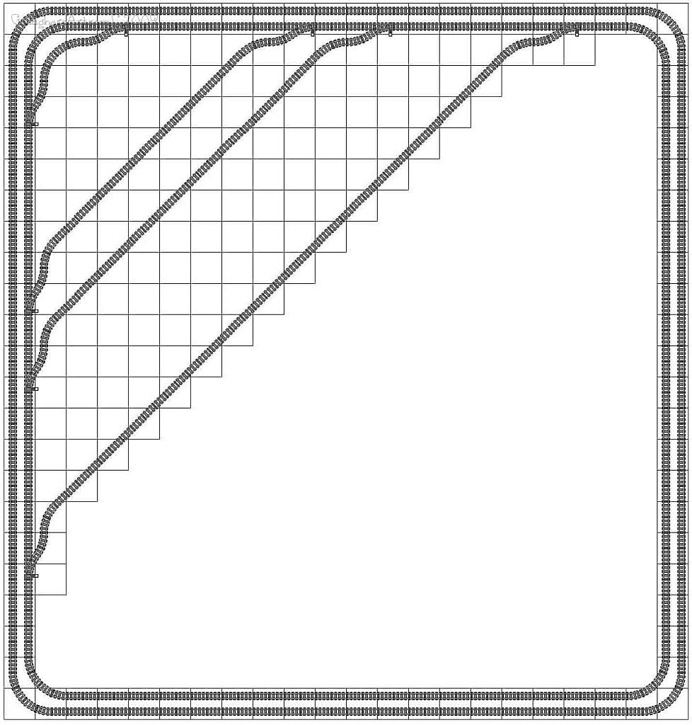 Legal LEGO train track layout from Lego Train Track Geometry