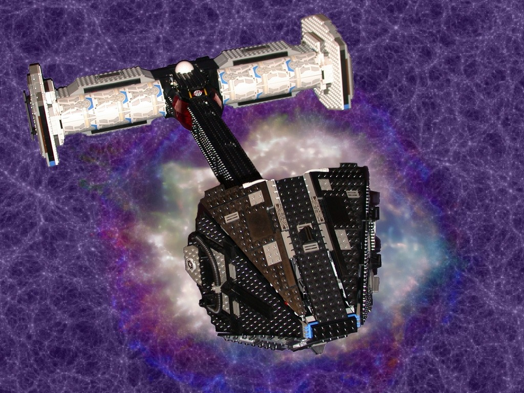 A in space2 from LEGO Space Mother Ship GallaghersArt_a_in_space2.jpg - Spaceship with background Image