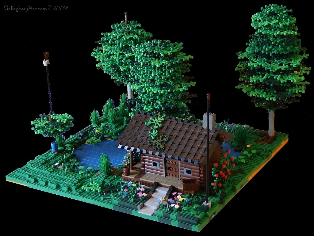 Complete LEGO Log Cabin scene from LEGO Log Cabin version 5 GallaghersArt_lc_090330_d.jpg - Complete LEGO Log Cabin scene, with one unfinished LEGO tree