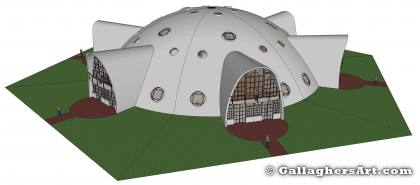 Side view of complete dome from MultiFamily Dome in 3D GallaghersArt_DOME_V8_frame_full_3d.jpg - Side view of complete dome