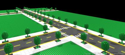 pov-ray lego from Misc Custom LEGO Roads MikeG_08.jpg - pov-ray render of lego custom roads