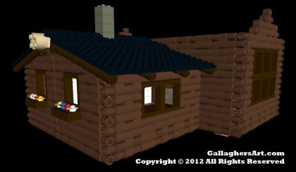 Multi-room LEGO log Cabin from Mechanics LEGO Log Cabins GallaghersArt_LC_windows_02.jpg - 3D side view of Multi-room LEGO log Cabin