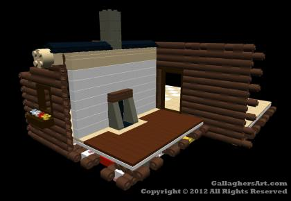 Multi-room LEGO log Cabin from Mechanics LEGO Log Cabins GallaghersArt_lc_doors_walls.jpg - 3D side view of Multi-room LEGO log Cabin with walls and roof removed