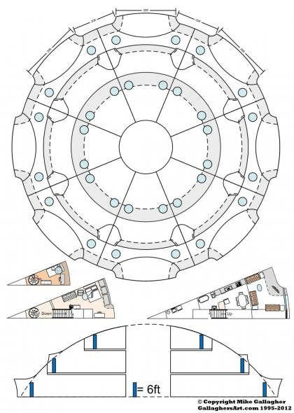 Layout of 8 separate housing areas from 3rd Floor for Dome GallaghersArt_40m_Circle_01sm.jpg - Layout of 8 separate housing areas with just over 3,000sq feet of space each. If needed they could be split in half for single room apartments. (single room floor layout shown). Center area could be open to air, and used as a community space. All uti